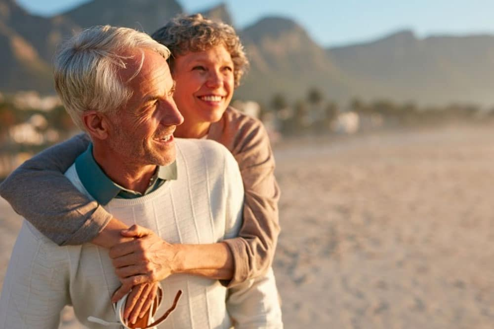 Older couple on a beach